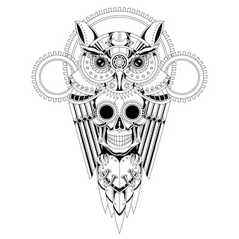 フクロウの頭蓋骨スチームパンクな黒と白のイラスト