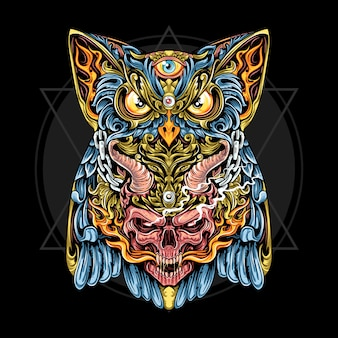 Owl and skull with horn and fire ornament, the ornament vintage look with gold leaf. artwork is editable  layers