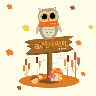 Owl Standing on Autumn Sign