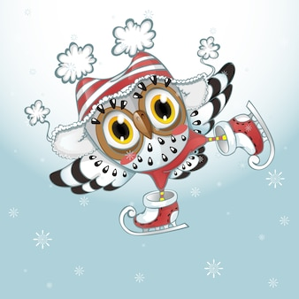 An owl in a striped hat is skating.