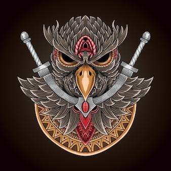 Owl sword and mandala