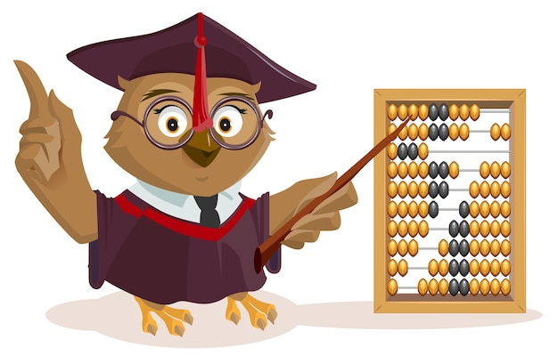 Owl teacher and abacus. isolated on white illustration