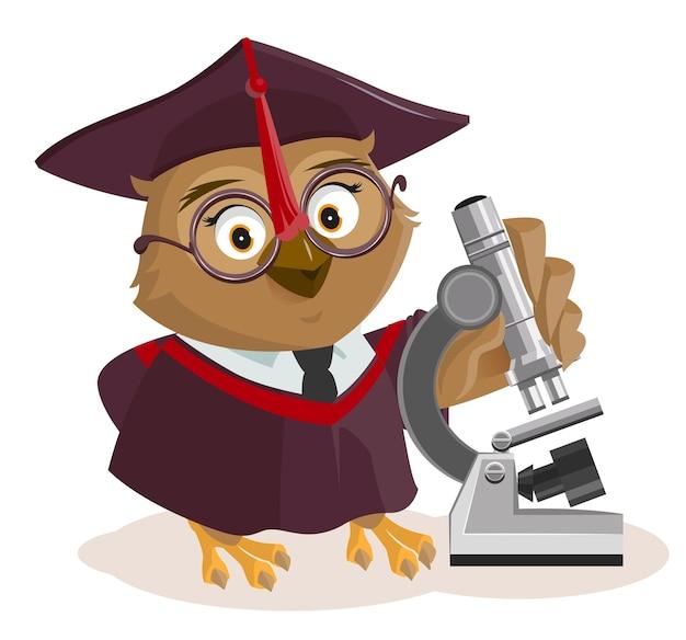 Учитель сова и микроскоп. изолированные на белом иллюстрации шаржа