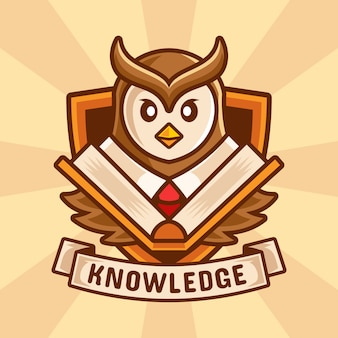 Owl teacher book cartoon illustration