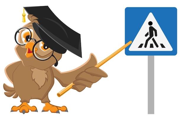 Учитель сова показывает знак пешеходного перехода Premium векторы