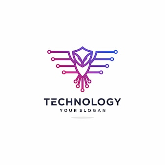 Owl tech logo design inspiration, gradient, technology premium