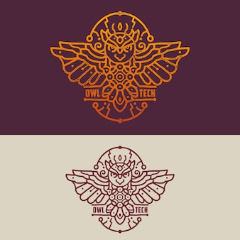 Owl technology badge monoline logo illustration