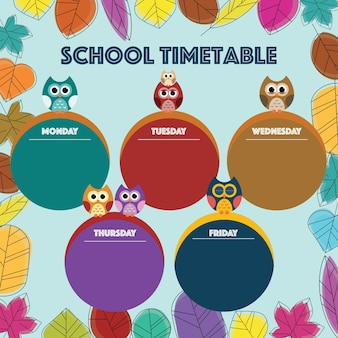 Owl theme timetable back to school