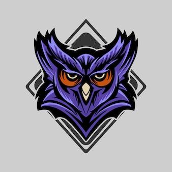Owl vector emblem illustration symmetrical
