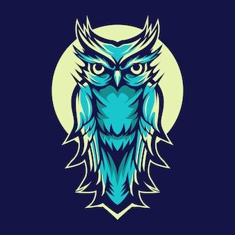 Owl vector illustration design on night