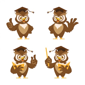 Owl with a book mascot design