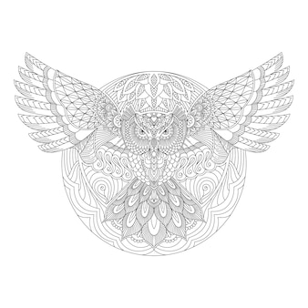 Owl with mandala style on line art vector