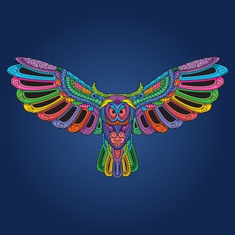 Owl with open wings artwork