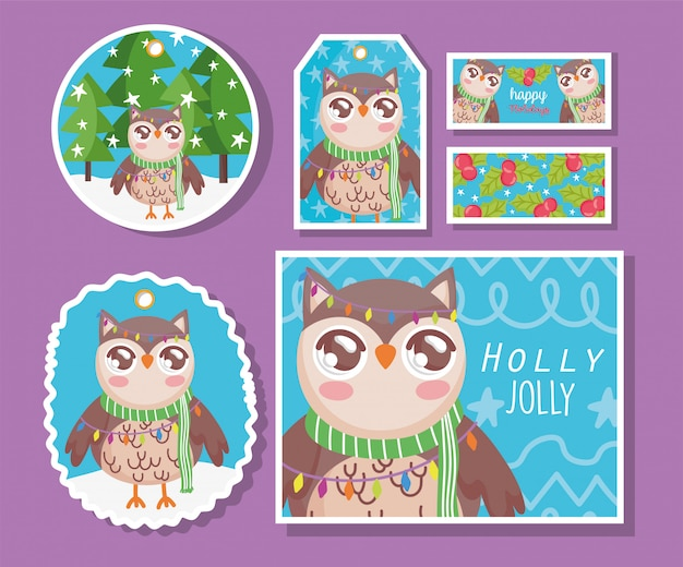 Owl with scarf happy merry christmas