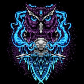 頭蓋骨とフクロウ