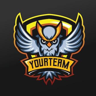 ロゴeスポーツゲームチームチームの黄色の眉マスコットスポーツイラストとフクロウ