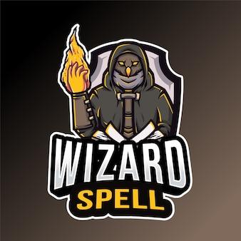 Owl wizard spell logo template