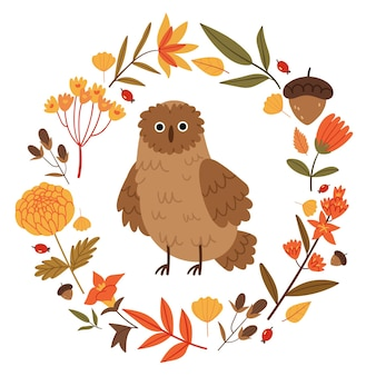 Owl in a wreath of autumn flowersforest plants and animalsbook illustrationfall