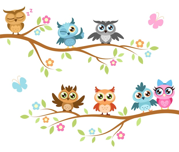 Owls on a branch. colorful cute friends owls sitting on branches, joyful forest birds, kids print