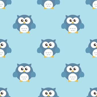 Owls cartoon character seamless pattern