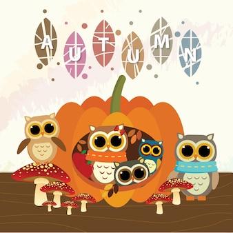 Owls enjoying autumn together