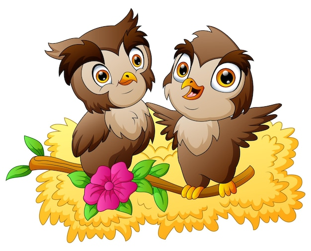 Owls in love sitting on a flowering tree branch