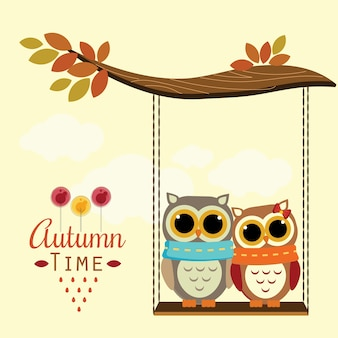 Owls in love with autumn