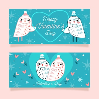 Owls in the night valentine's day banners