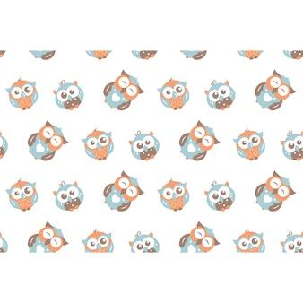 Owls pattern background