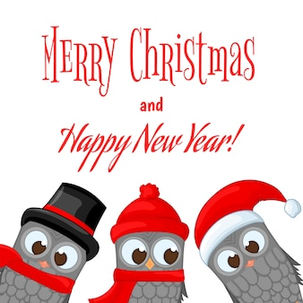 Owls in santa claus hat and scarf