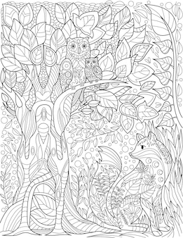 Owls on tall tree branch in forest with small fox below colorless line drawing birds on branches