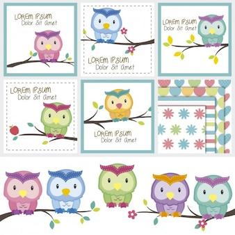 Owls on trees