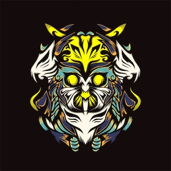 Owls with combat power vector illustration