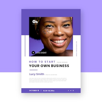 Own business webinar flyer print template