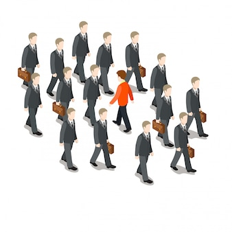 Own way in business isometric concept. red businessman walk against crowd illustration.