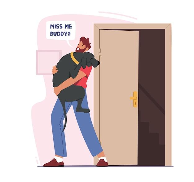 Владелец мужского пола, держащий собаку на руках, встречаются после работы дома