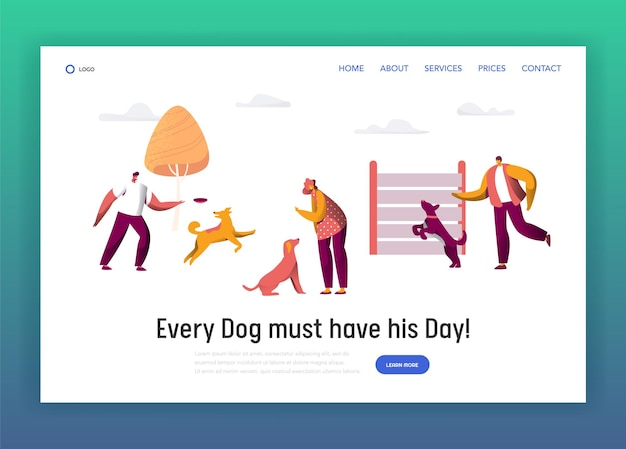Owner training command different funny dog landing page.