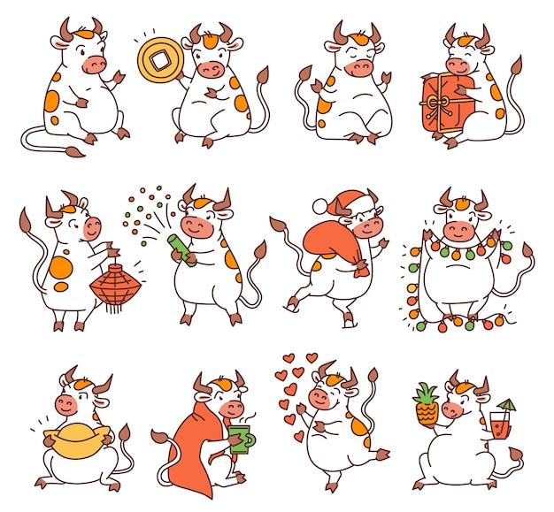 Бык с символами китайского нового года. симпатичные разные быки держат деньги и китайские фонарики и пускают фейерверки. векторные иллюстрации шаржа наброски.