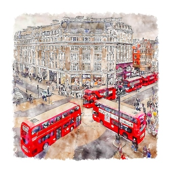 Oxford circus london watercolor sketch hand drawn illustration