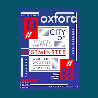 Oxford city typography urban t shirt design