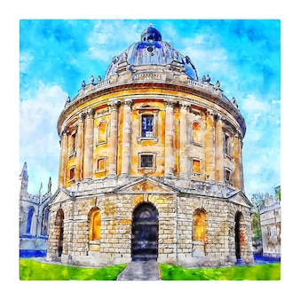 옥스포드 영국 수채화 스케치 손으로 그린 그림