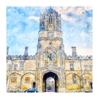 Oxford united kingdom watercolor sketch hand drawn illustration