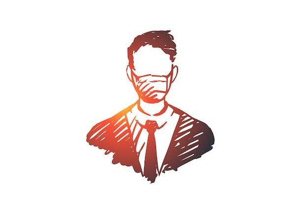酸素、マスク、呼吸、機器、健康の概念。酸素マスクの概念スケッチで呼吸する手描きの人。
