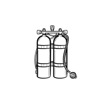 산소 탱크 손으로 그린 개요 낙서 아이콘입니다. 흰색 배경에 격리된 인쇄, 웹, 모바일 및 인포그래픽을 위한 헬륨 또는 산소 벡터 스케치 삽화가 있는 탱크.