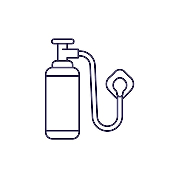 Oxygen tank with mask line icon