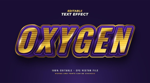 Oxygen text in gold and purple with 3d embossed effect. editable text style effect