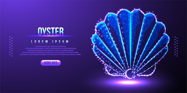 Rete wireframe oyster low poly