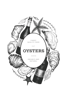 牡蠣とワインのデザインテンプレート。手描きイラスト。シーフードバナー。