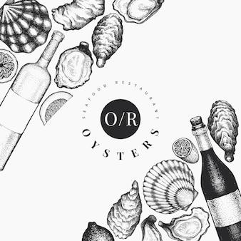 カキとワインのテンプレート。手描きイラスト。シーフードバナー。デザインメニュー、パッケージ、レシピ、ラベル、魚市場、シーフード製品に使用できます。