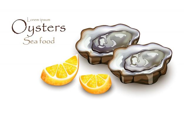 Oysters and lemon sea food